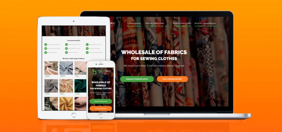 Landing page for selling fabric wholesale