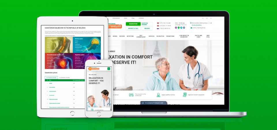 Website for the health resort Solnechny