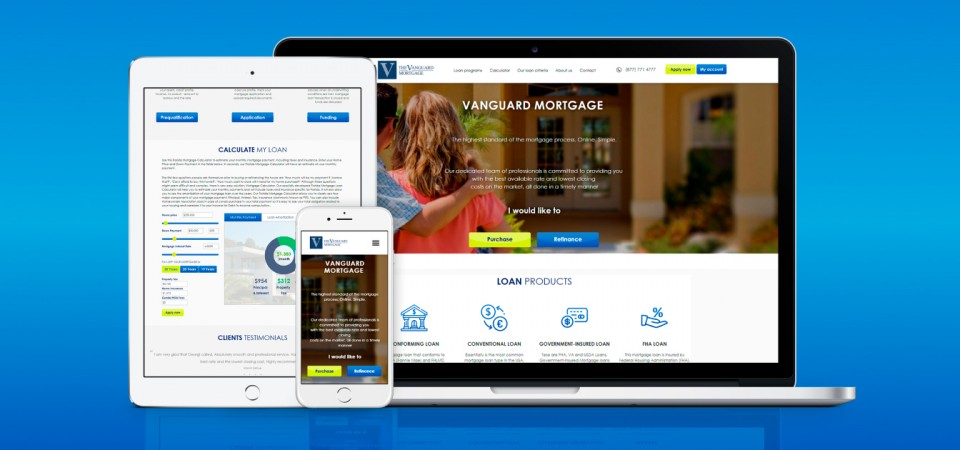 Creation of a website for a mortgage agency vanguard-mortgage